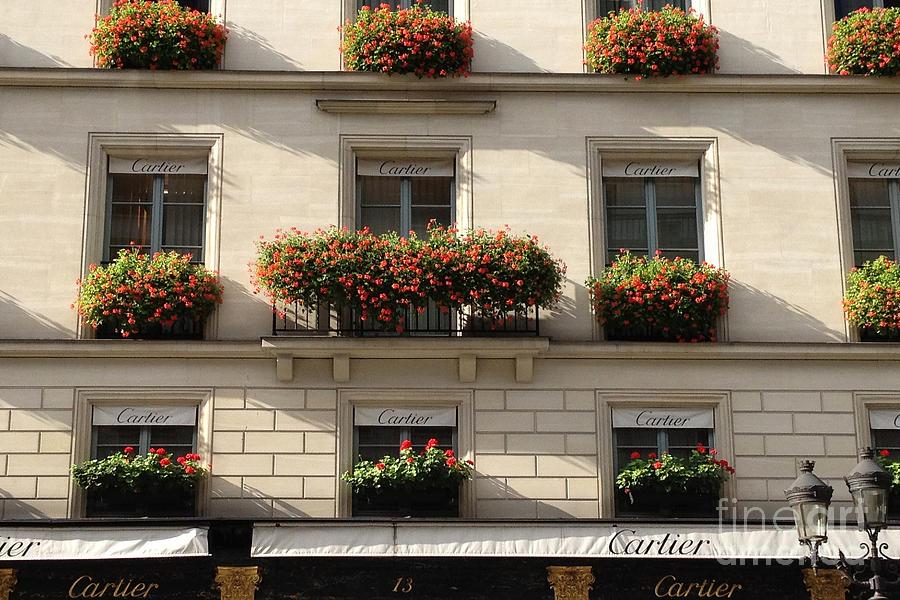 Paris Street Scenes Photograph - Paris Cartier Window Boxes - Paris Cartier Windows And Flower Boxes - Cartier Paris Building  by Kathy Fornal