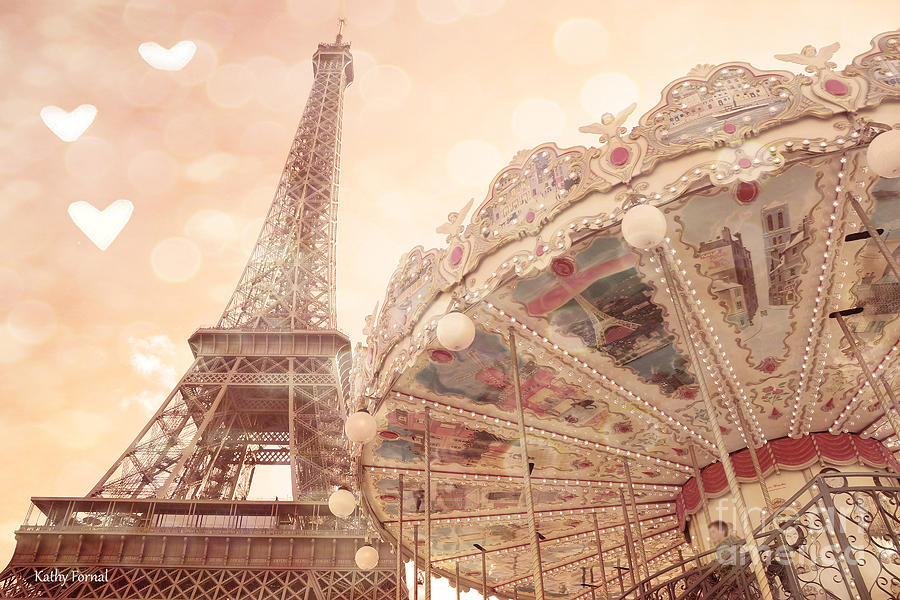 Paris Photograph - Paris Dreamy Eiffel Tower And Carousel With Hearts - Paris Sepia Eiffel Tower And Carousel Photo by Kathy Fornal