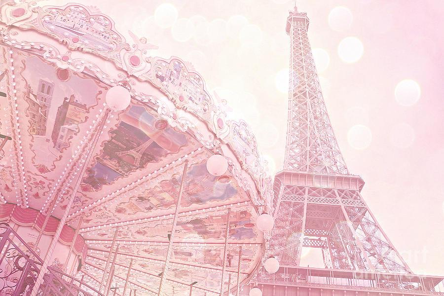 Paris Dreamy Pink Carousel And Eiffel Tower - Eiffel Tower Carousel