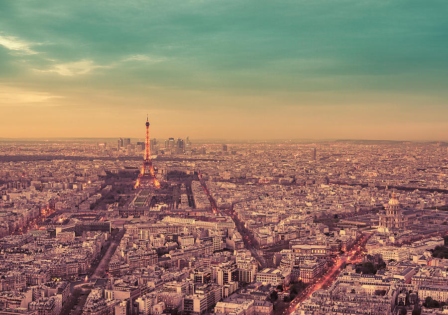 Paris Photograph - Paris - Eiffel Tower And Cityscape At Sunset by Vivienne Gucwa