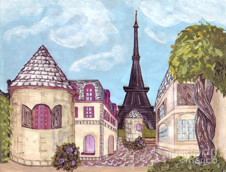 Paris Painting - Paris Eiffel Tower Inspired Impressionist Landscape by Kristie Hubler