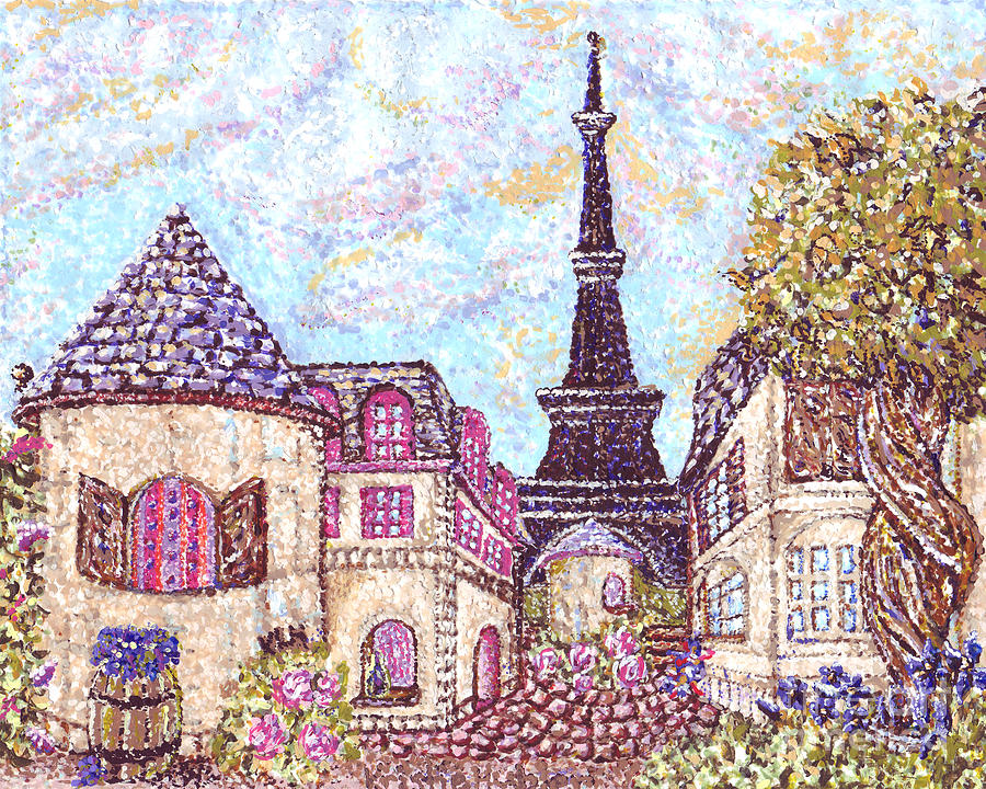 Paris Painting - Paris Eiffel Tower Skyline Inspired Pointillist Landscape by Kristie Hubler