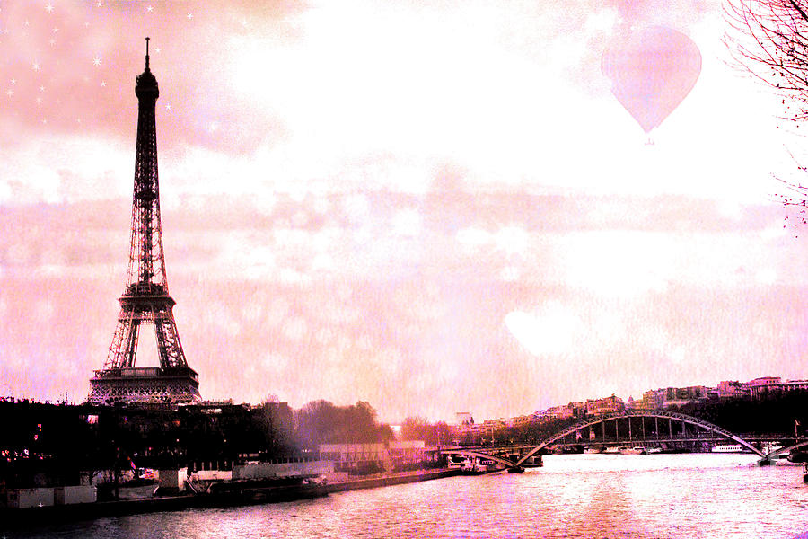 Eiffel Tower Photograph - Paris Eiffel Tower Pink - Dreamy Pink Eiffel Tower With Hot Air Balloon by Kathy Fornal