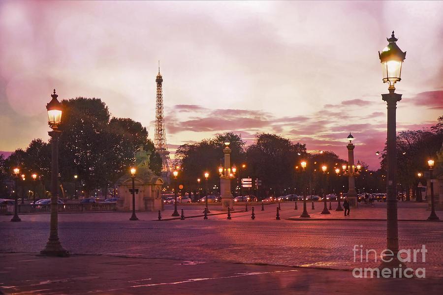 Paris Eiffel Tower Place De La Concorde Evening Pink