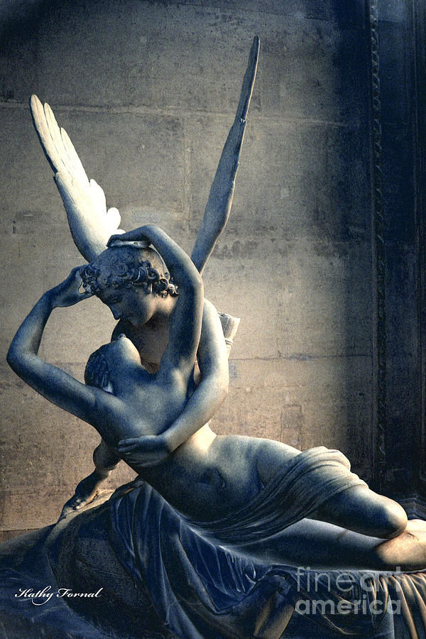 Paris Photograph - Paris Eros And Psyche Romantic Lovers - Paris In Love Eros And Psyche Louvre Sculpture  by Kathy Fornal