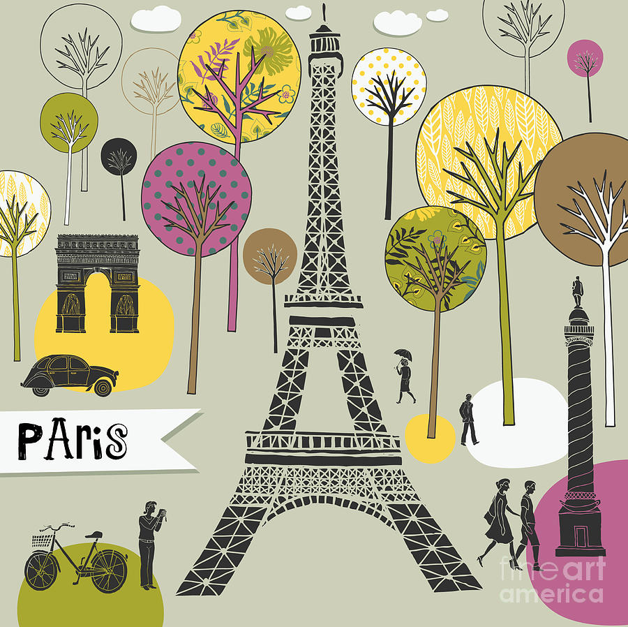 Typography Digital Art - Paris France Art Print by Lavandaart