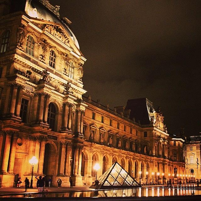 Urban Photograph - #paris #france #louvre #night by Luisa Azzolini