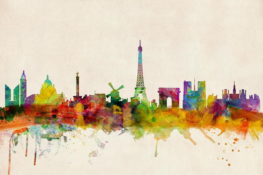 Paris Digital Art - Paris France Skyline Panoramic by Michael Tompsett