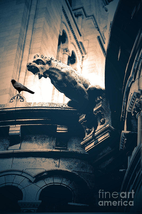 Black And White Paris Prints Photograph - Paris Gargoyles - Gothic Paris Gargoyle With Raven - Sacre Coeur Cathedral - Montmartre by Kathy Fornal
