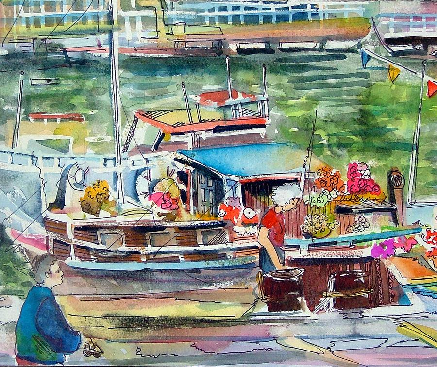 Boat Painting - Paris House Boat by Mindy Newman