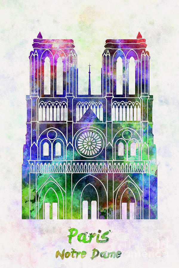 Paris Landmark Notre Dame In Watercolor Painting