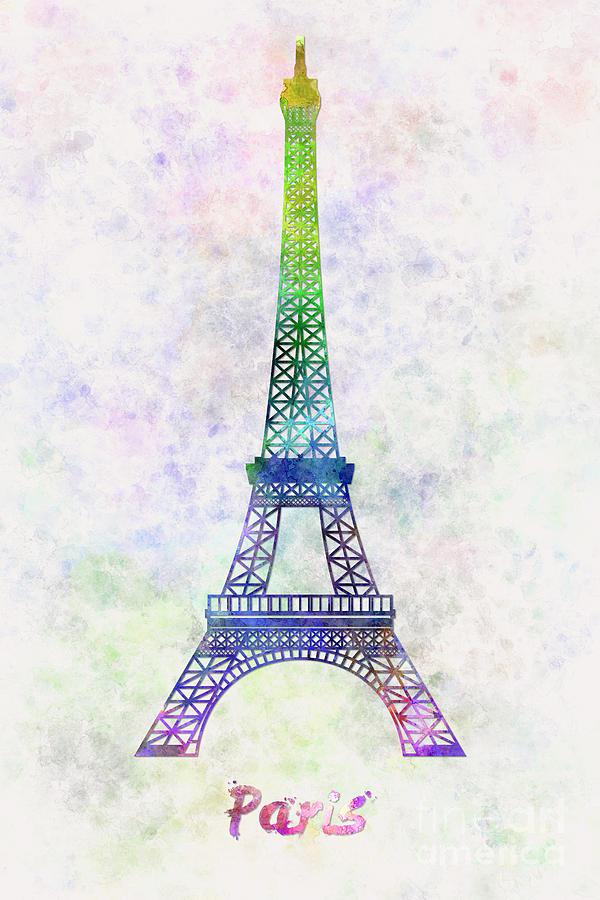 Paris Landmark Tour Eiffel In Watercolor Painting