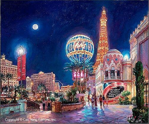 Paris Las Vegas Painting by Ceo Yong