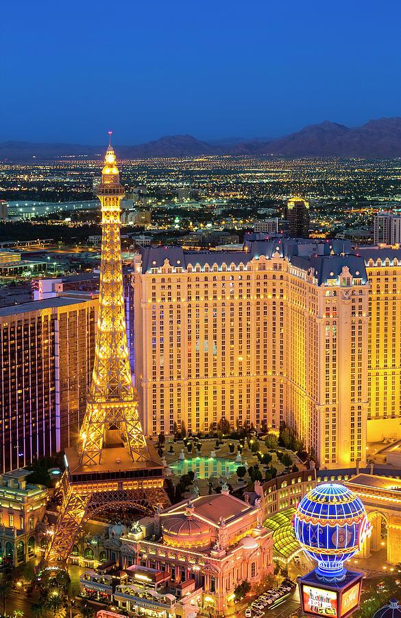 Paris Las Vegas Hotel At Night, Nevada Photograph by Sylvain Sonnet
