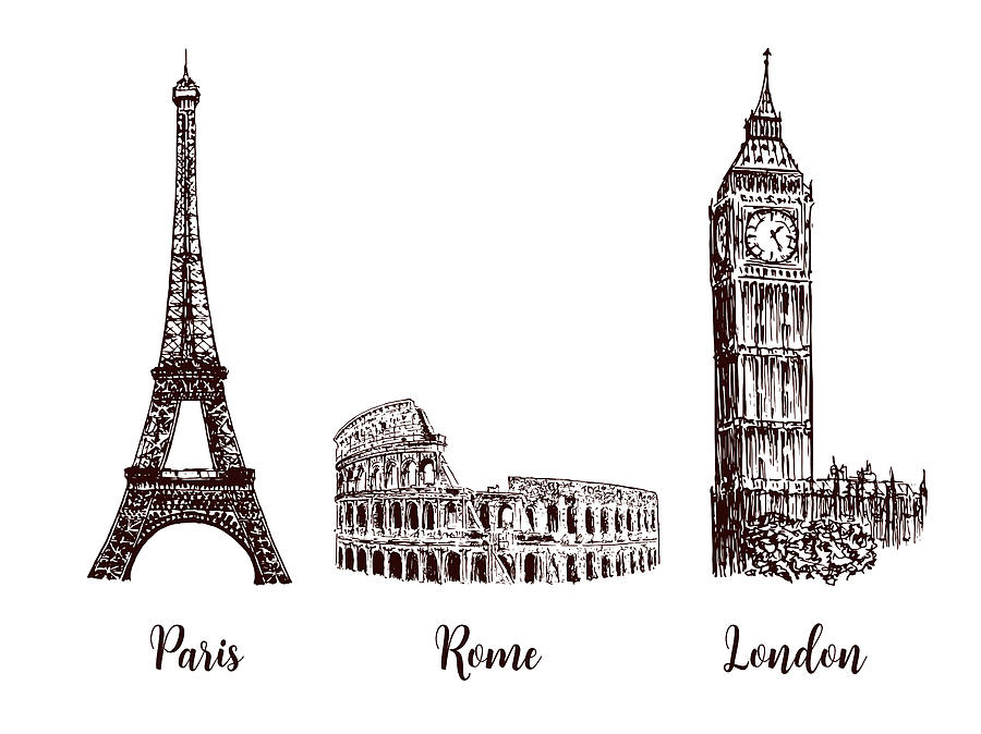 Paris, London Rome. Set Of European Digital Art by Barloc