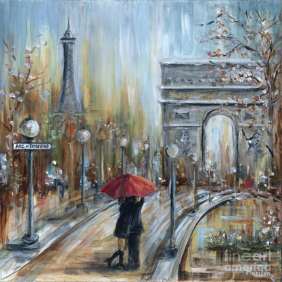 Paris lovers ii painting by marilyn dunlap for Where to buy canvas art