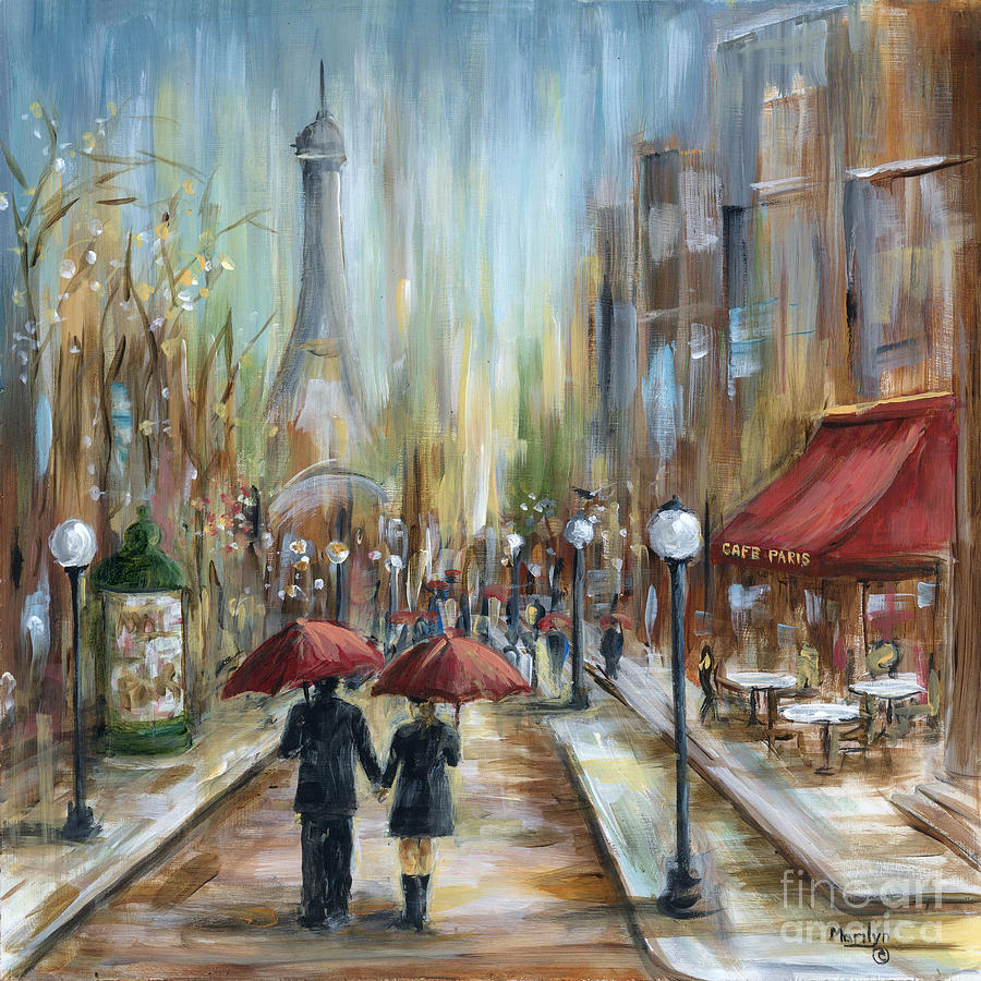 Paris Painting - Paris Lovers Ill by Marilyn Dunlap