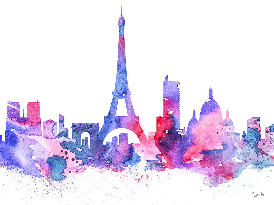 Paris Painting by Watercolor Girl