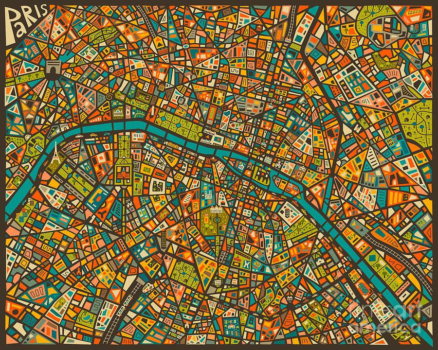 Paris Map Digital Art by Jazzberry Blue