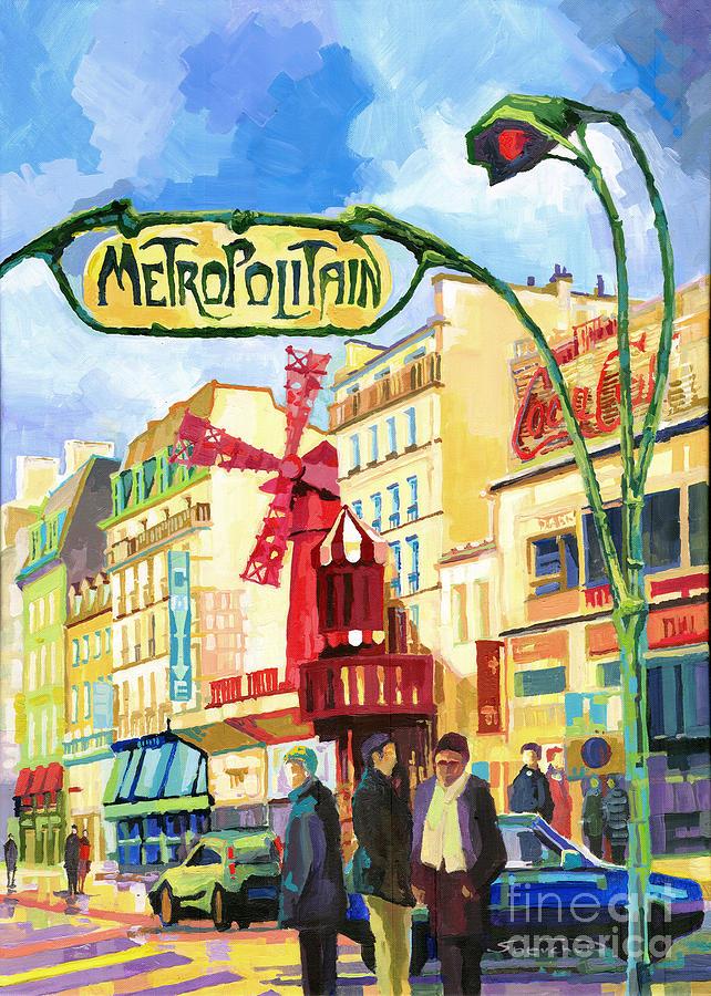 Acrilic On Canvas Painting - Paris Metropolitain Blanche Moulin Rouge  by Yuriy  Shevchuk