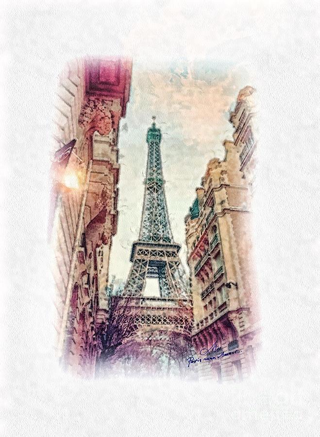 Paris Painting - Paris Mon Amour by Mo T