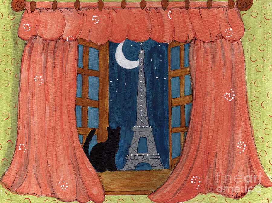 Eiffel Tower Painting - Paris Moonlight by Lee Owenby