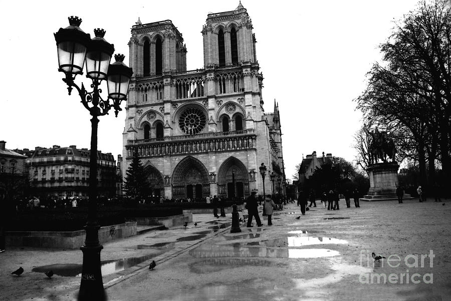 Paris landmarks photograph paris notre dame cathedral notre dame cathedral courtyard rainy black and