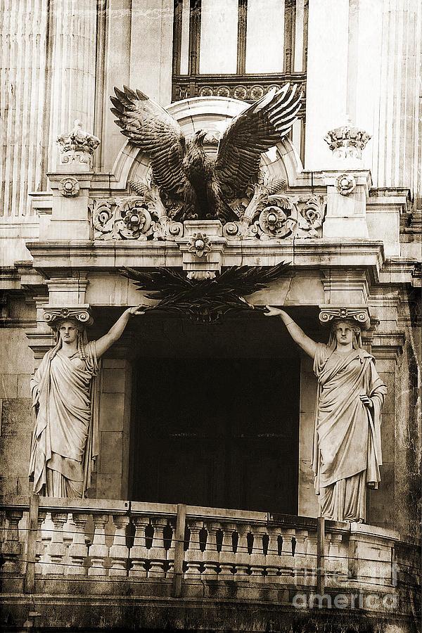 Paris opera house ladies statues eagle sculpture art deco
