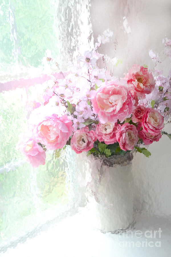 French Photograph - Paris Peonies Roses Shabby Chic Art - Romantic Paris Peonies And Roses Impressionistic Floral Art by Kathy Fornal