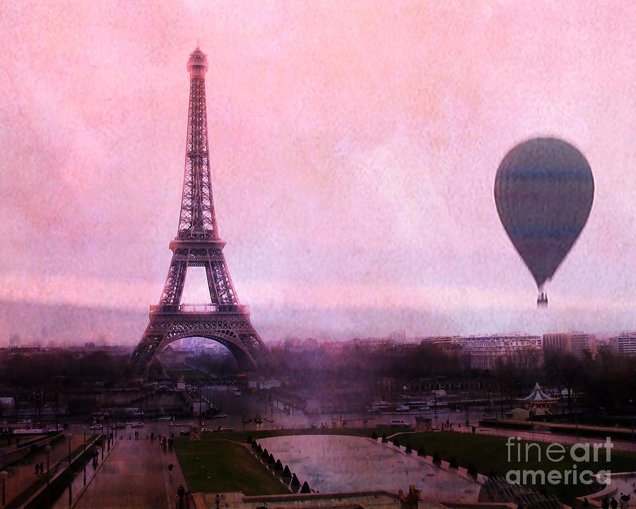 Paris Pink Eiffel Tower With Hot Air Balloon - Paris Eiffel Tower ...