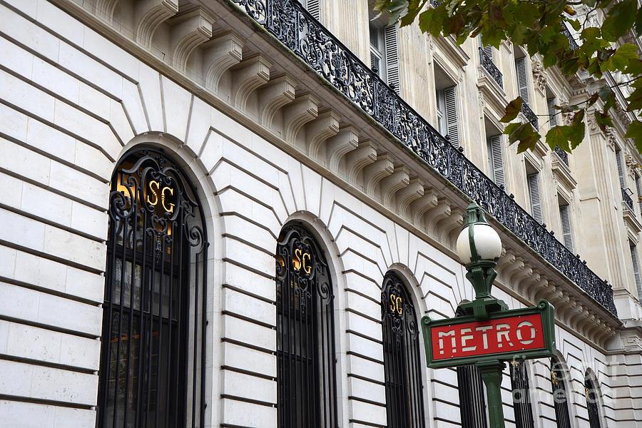 Paris Red Black Metro Sign - Paris Ornate Art Nouveau Red Metro Sign ...
