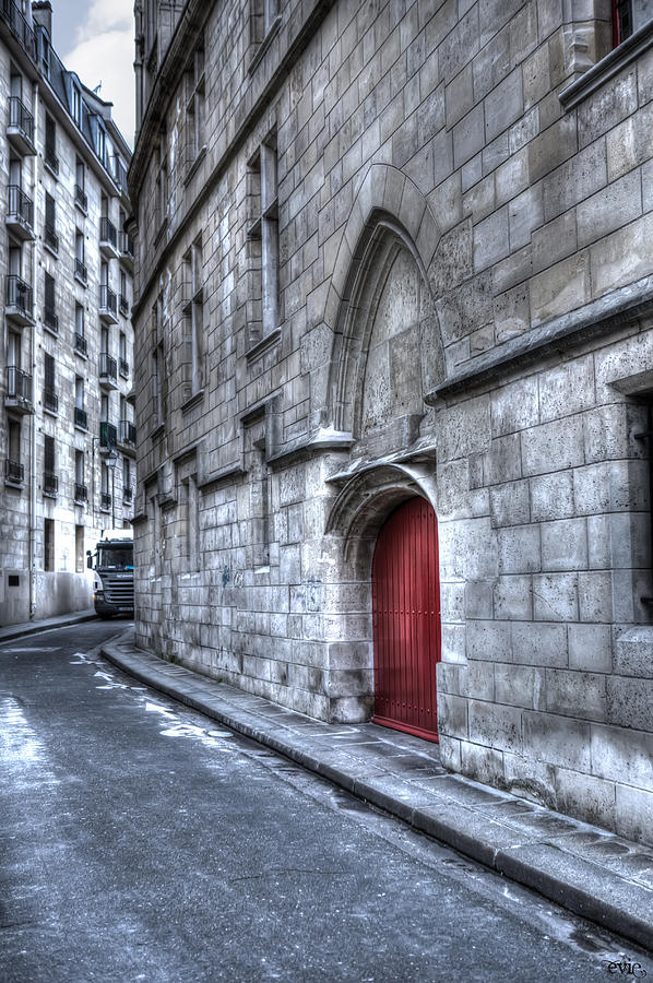 Arch Photograph - Paris Red Door by Evie Carrier
