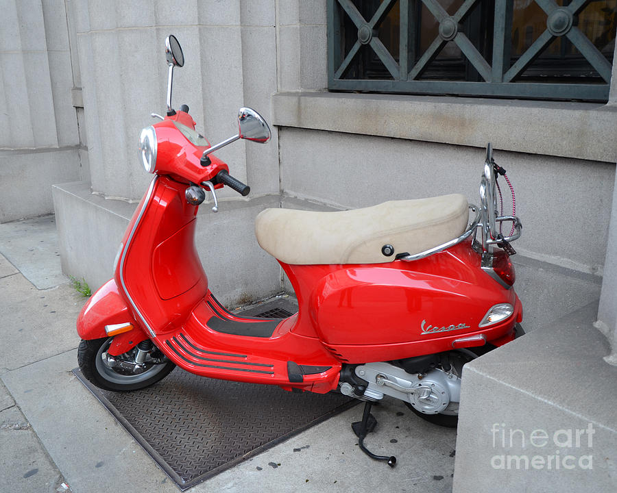 paris red vespa auto scooter french red vespa cherry red parisian vespa photograph by kathy. Black Bedroom Furniture Sets. Home Design Ideas