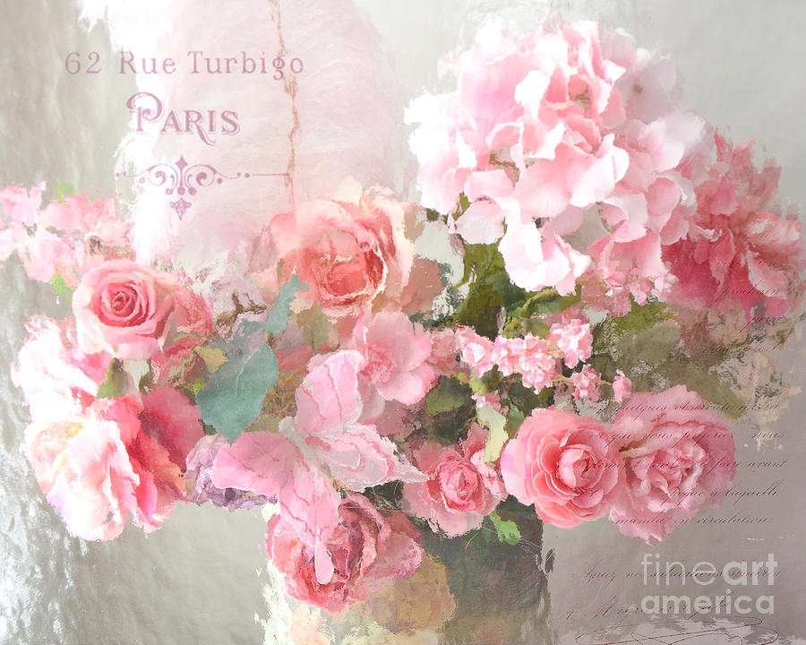 Roses Photograph - Paris Shabby Chic Dreamy Pink Peach Impressionistic Romantic Cottage Chic Paris Flower Photography by Kathy Fornal