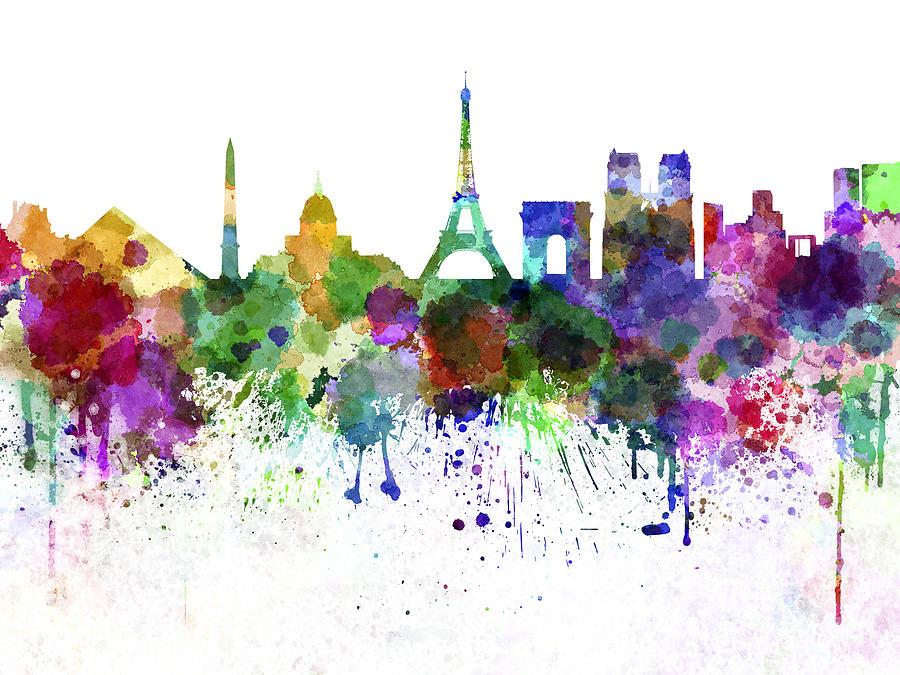 Black paint splatter wallpaper - Paris Skyline In Watercolor On White Background Painting