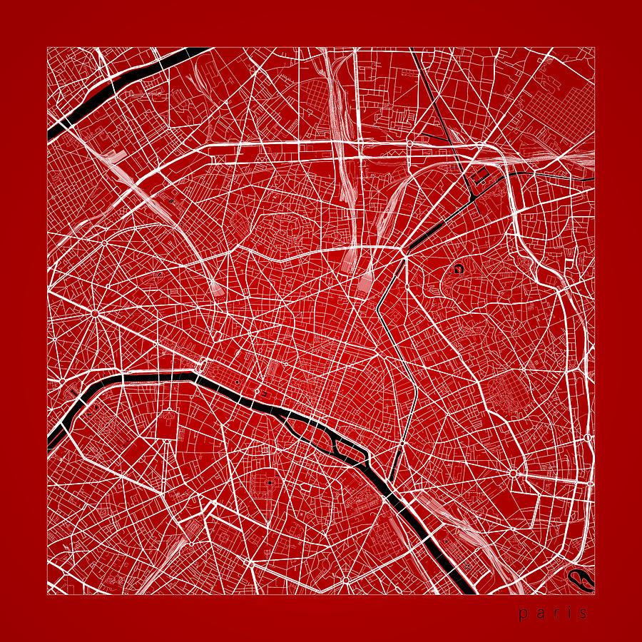 road map digital art paris street map paris france road map art on color