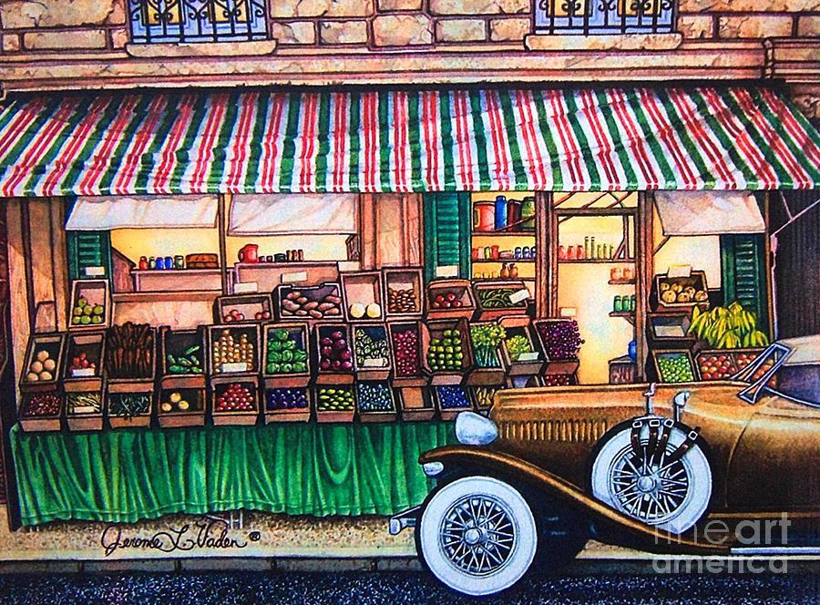 Paris Street Market Painting by JL Vaden