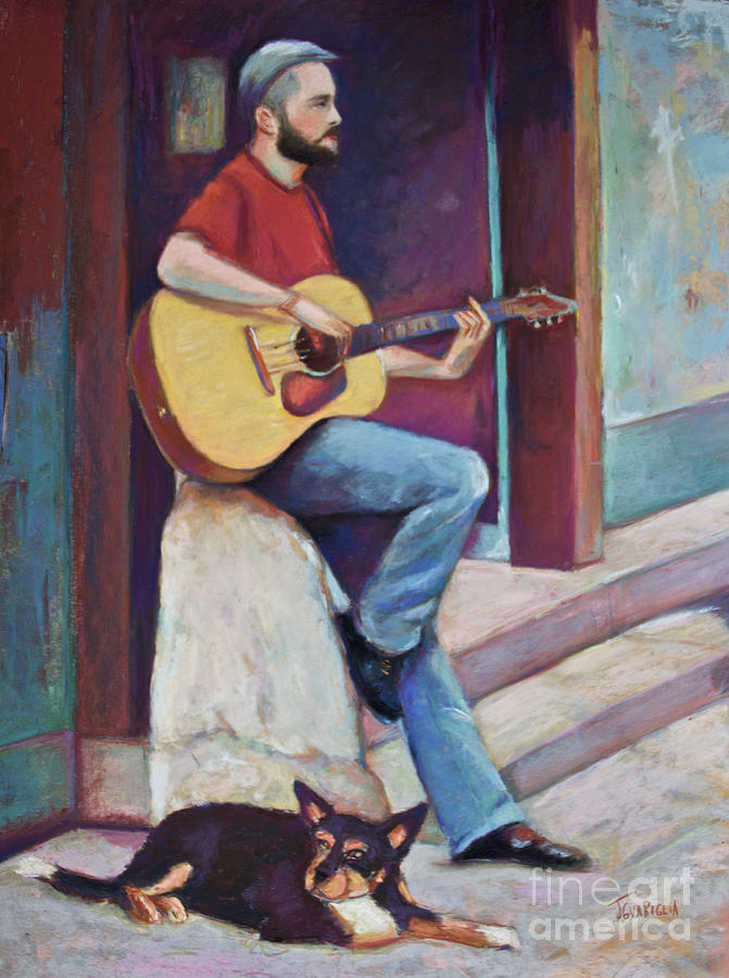 Guitar Pastel - Paris Street Musician And Dog by Joyce A Guariglia