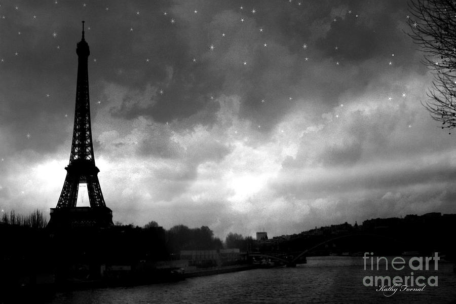 Paris Surreal Dark Eiffel Tower Black White Starlit Night Scene