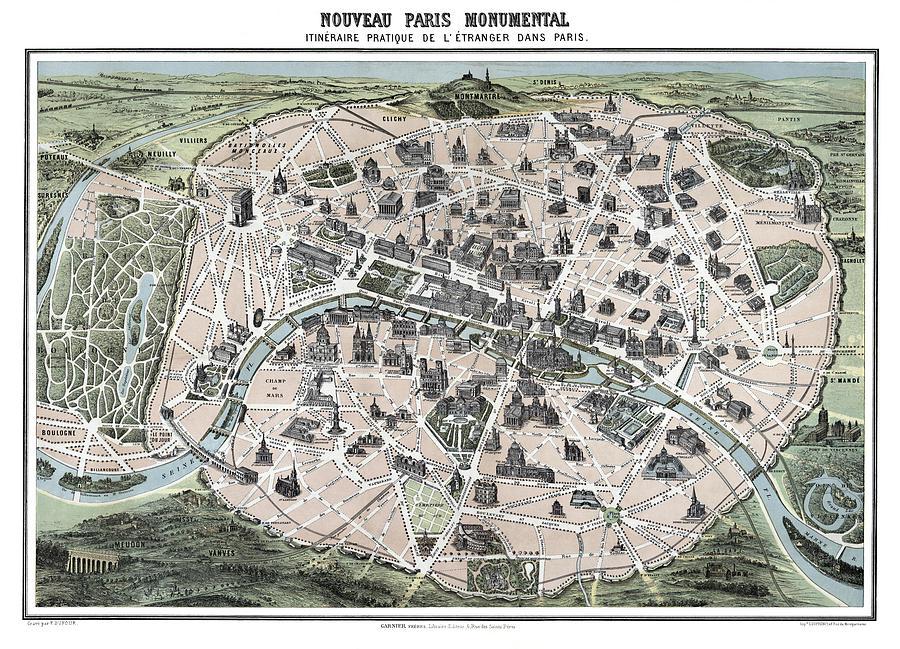 paris photograph paris tourist map 1878 by daniel hagerman