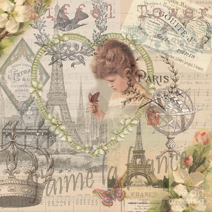 paris vintage collage with child digital art by mary hubley. Black Bedroom Furniture Sets. Home Design Ideas
