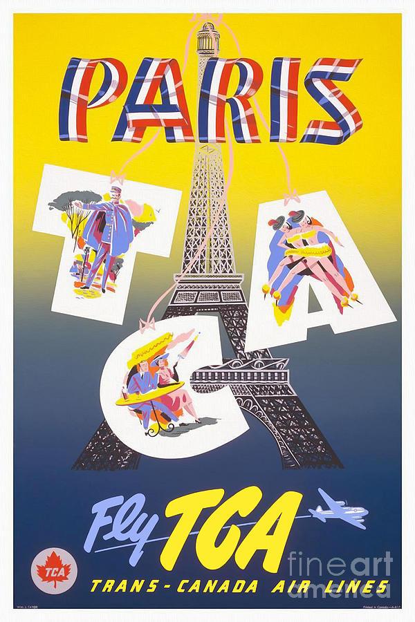 Paris Drawing - Paris Vintage Travel Poster by Jon Neidert