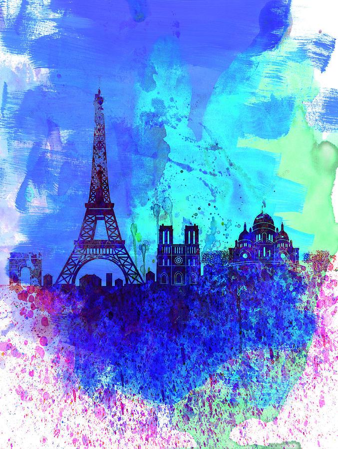 Popular Paris Watercolor Skyline Painting by Naxart Studio OG21