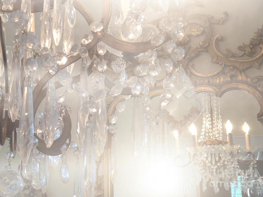 Paris home decor photograph paris dreamy white gold ghostly crystal chandelier mirrored reflection paris