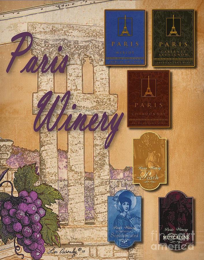 Paris Winery Labels by Lee Owenby