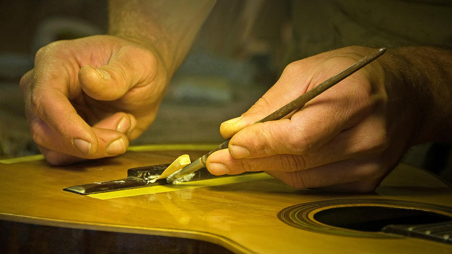 Luthier Photograph - Parisian Luthier At Work by Kent Sorensen