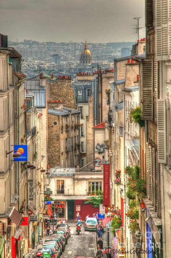 Paris Photograph - Parisian Street View by Malu Couttolenc