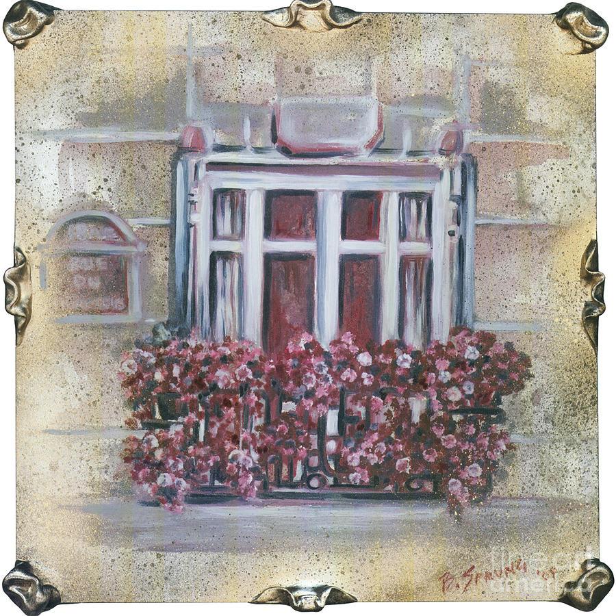 Window Painting - Parisian Window by Bonnie Sprung