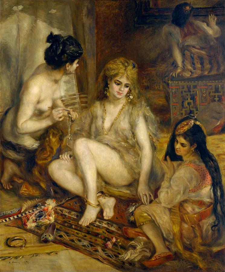 1872 Painting - Parisiennes In Algerian Costume Or Harem by Pierre-Auguste Renoir
