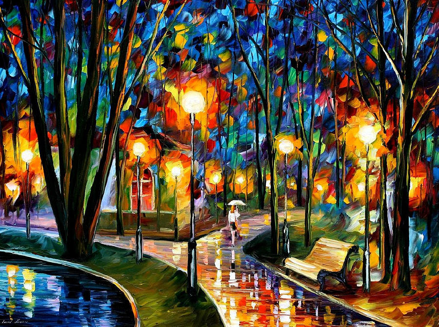 Oil Paintings Painting - Park By The Lake - Palette Knife Oil Painting On Canvas By Leonid Afremov by Leonid Afremov
